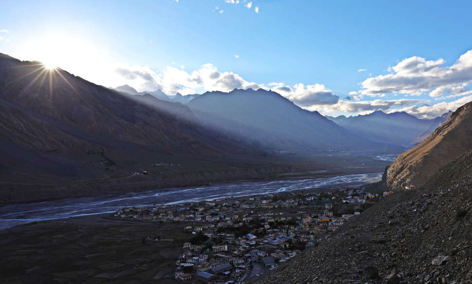 Sunset over Kaza, Himachal Pradesh
