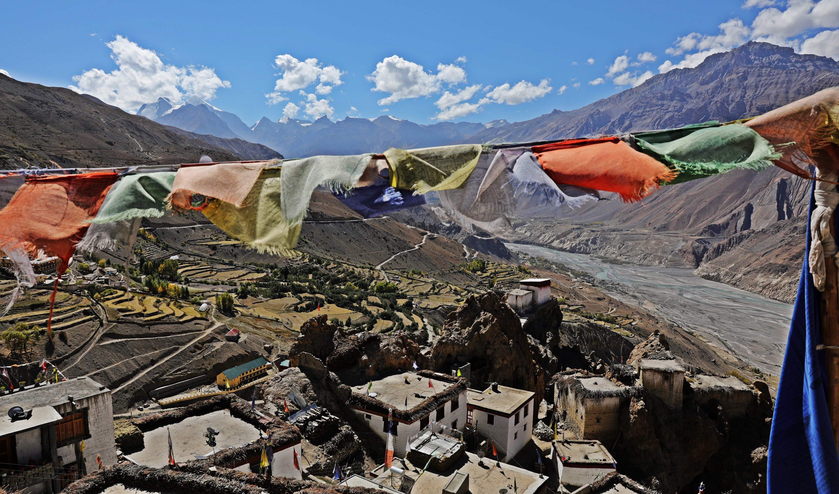 View of Dhankar Village from the Gompa