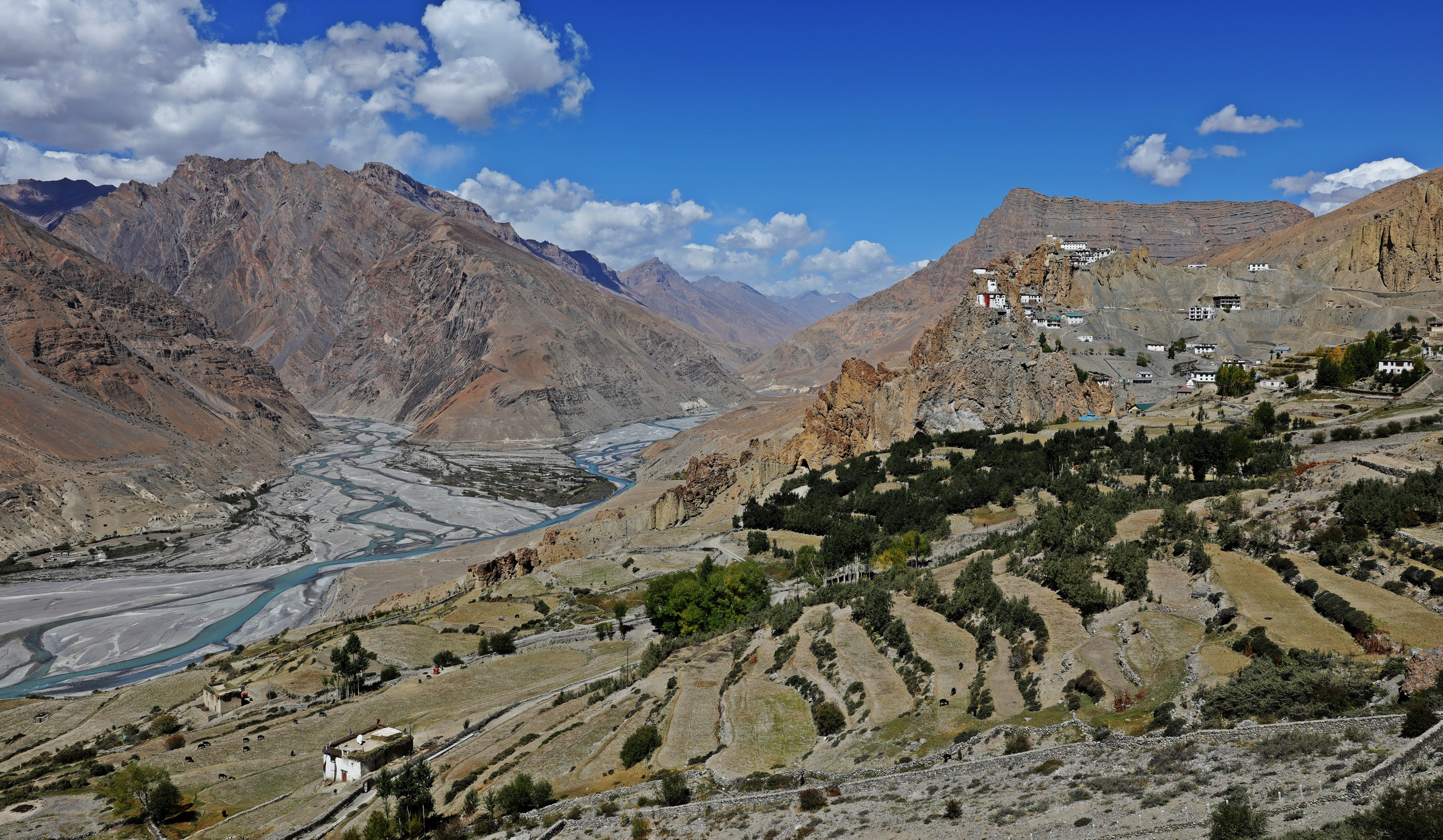 Confluence of Spiti and Pin Rivers below Dhankar Gompa