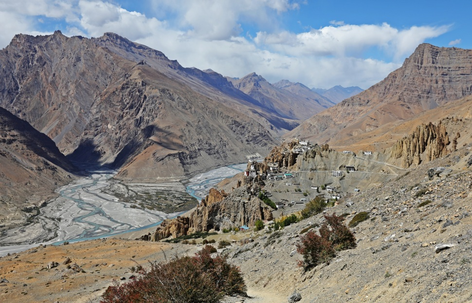 Confluence of Spiti and Pin Rivers below Dhankar, Gompa