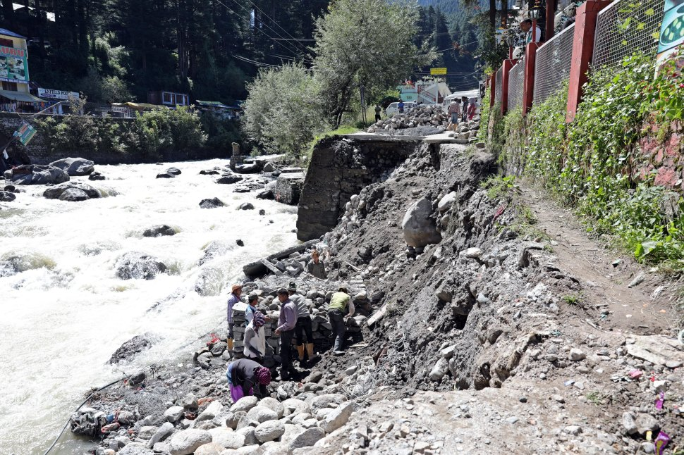 Road damage outside our hotel, Old Manali