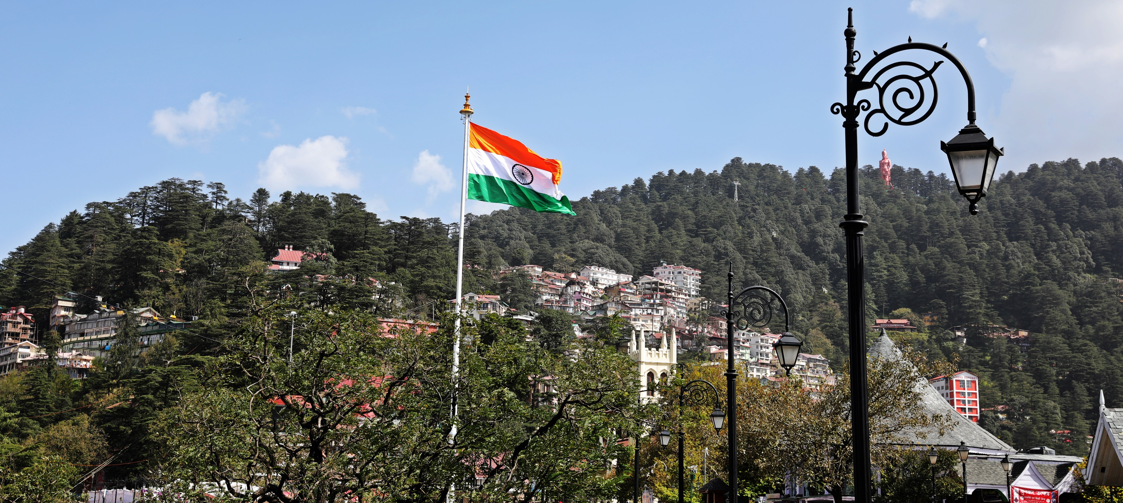 Indian flag, with Hanuman on the hill, Shimla