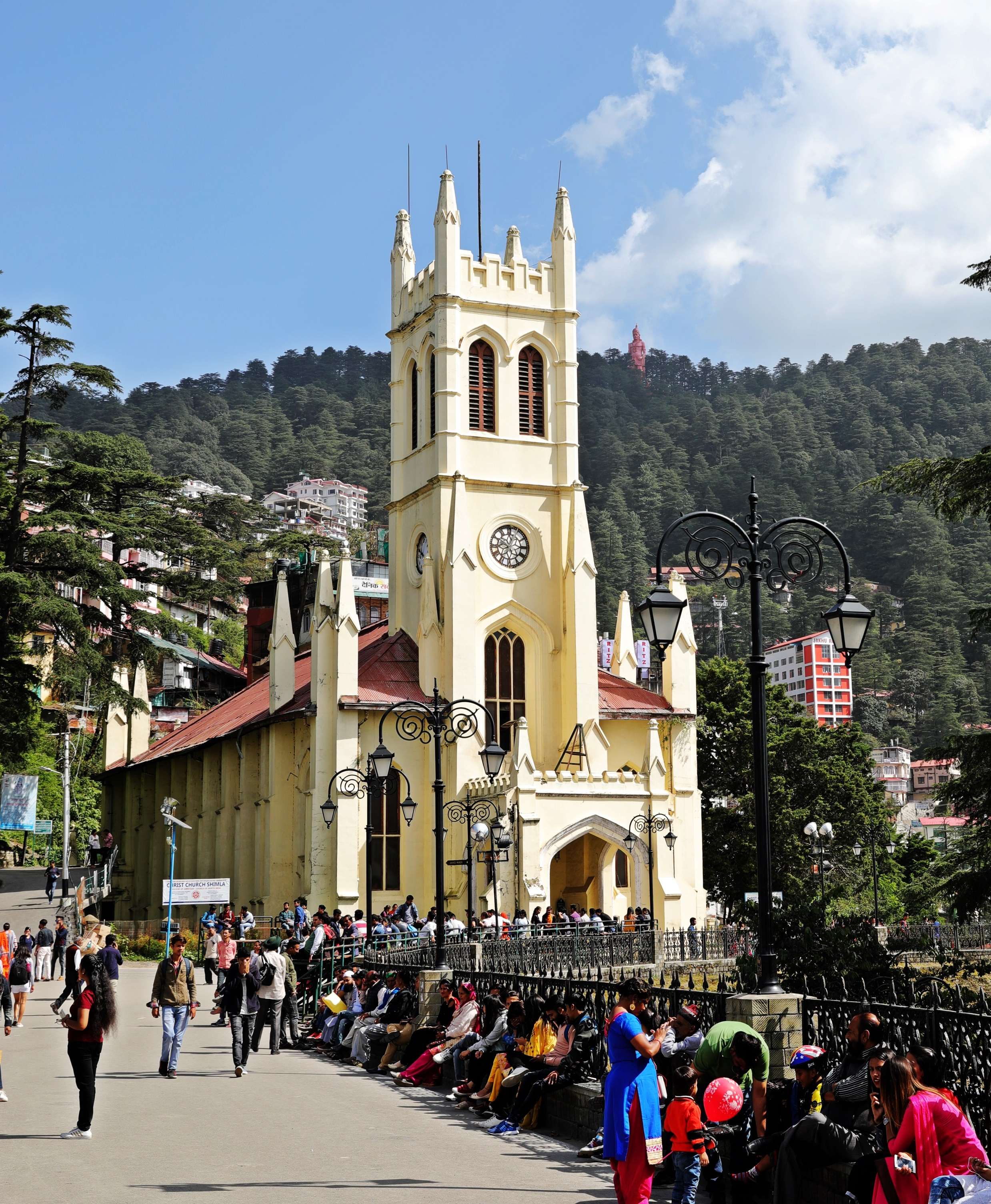 Christ Church with Hanuman on the hill, Shimla