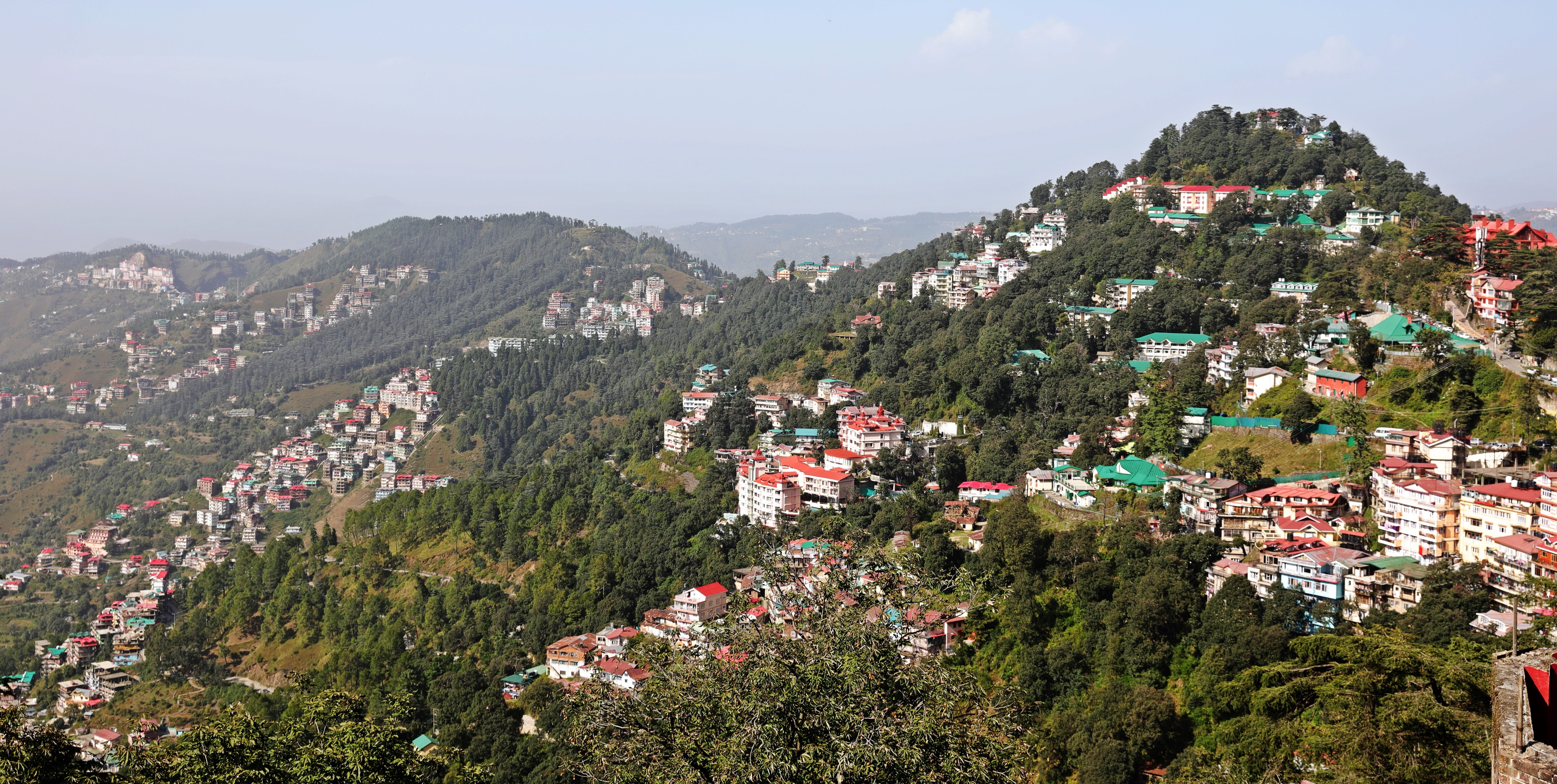 City on the other side of the ridge from Shimla
