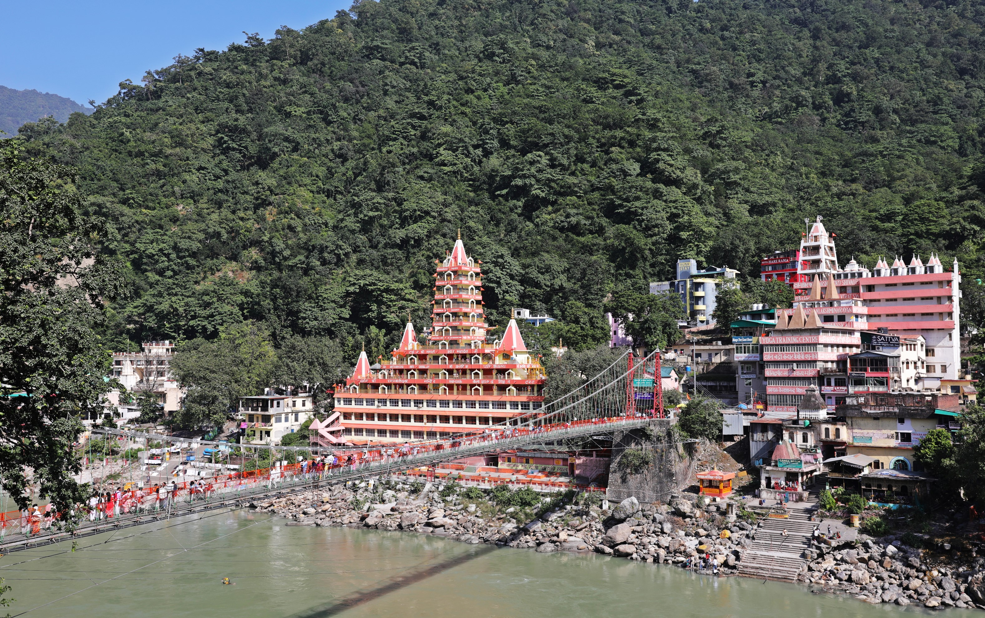 Lakshman Jhula over the Ganges, Rishikesh