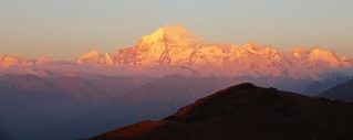 Sunset Alpenglow on Nanda Devi from Kuari Pass