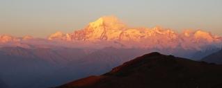 Sunset Alpenglow on Nanda Devi from Kuari Pass