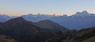 Alpenglow over the Western Garhwal Range from Kuari Pass