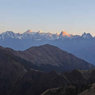 Alpenglow over the Western Garhwal Range from Kuari Pass