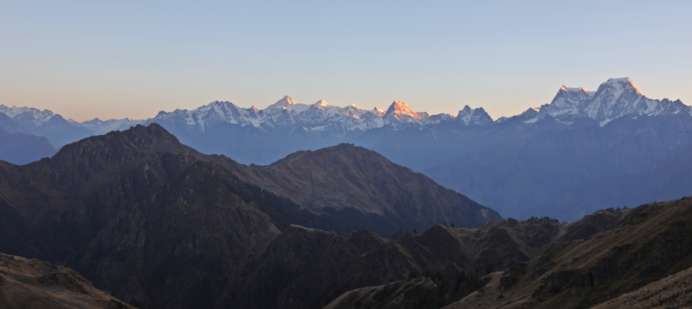 Alpenglow over the Nanda Devi Range from Kuari Pass