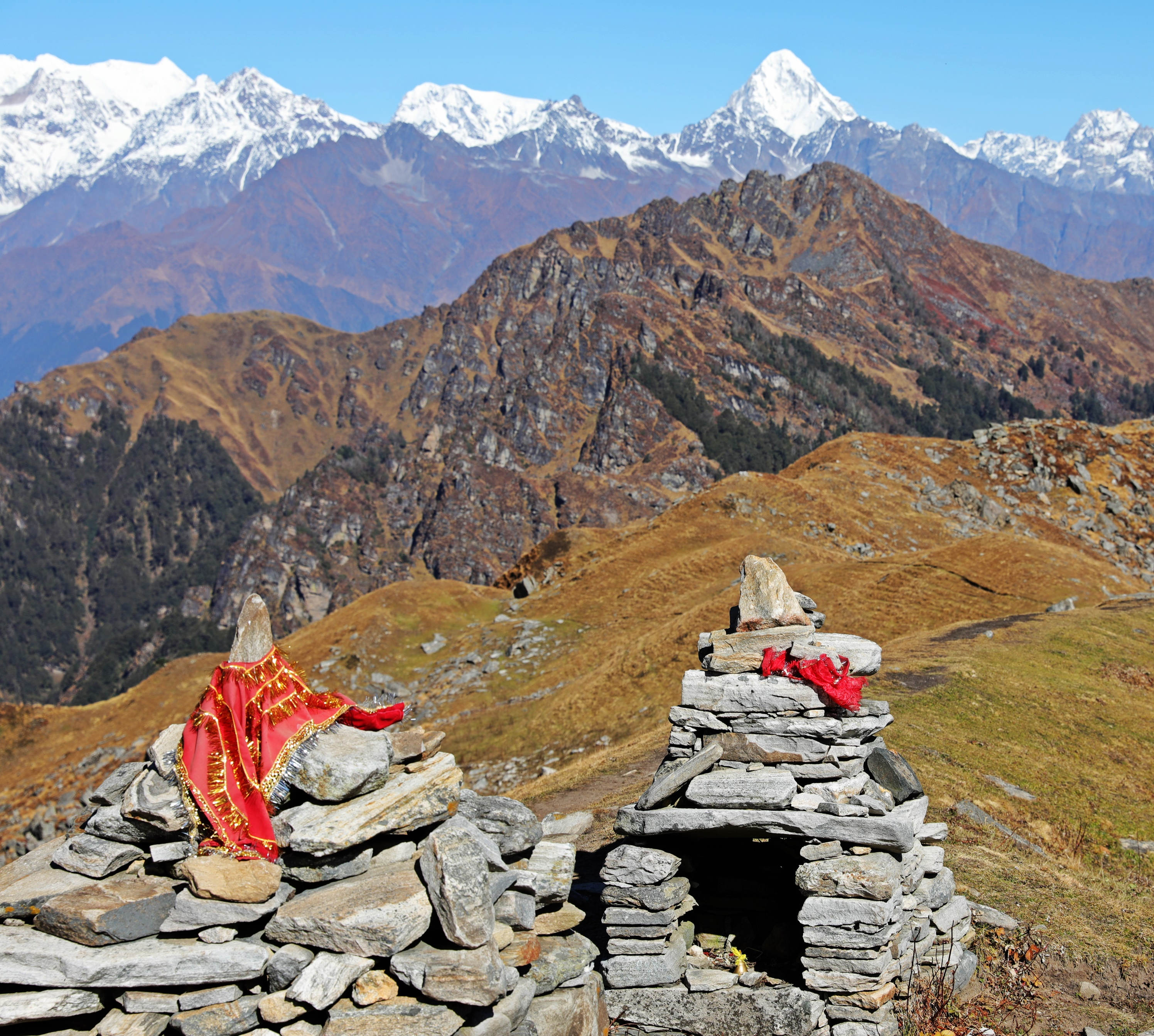 Hindu shrine on Kuari Pass with Mt. Neelkanth behind