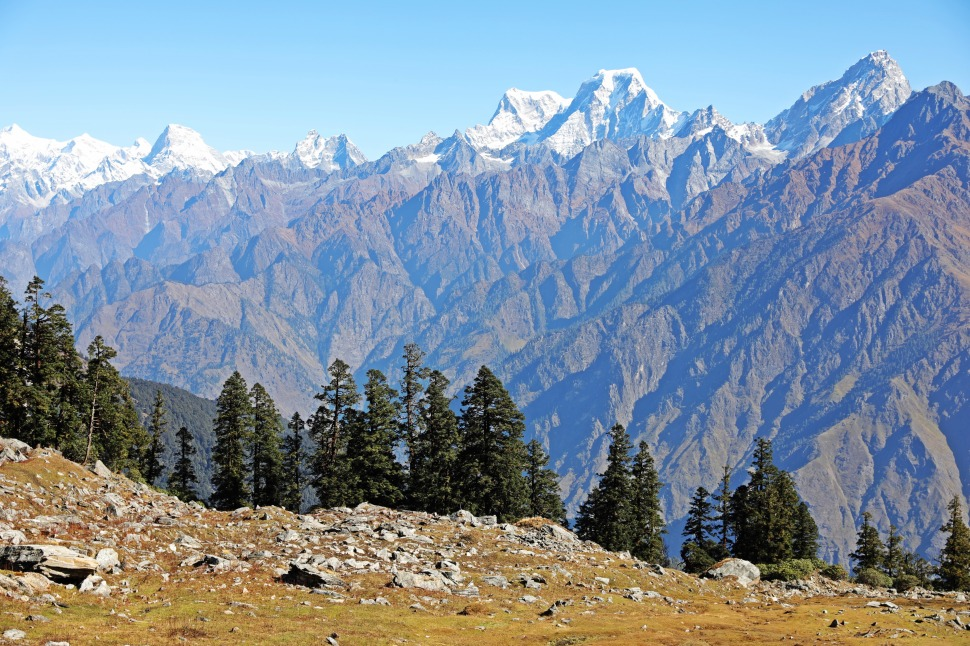 Mt. Neelkanth and the Nanda Devi Range on the Kuari Pass Trek