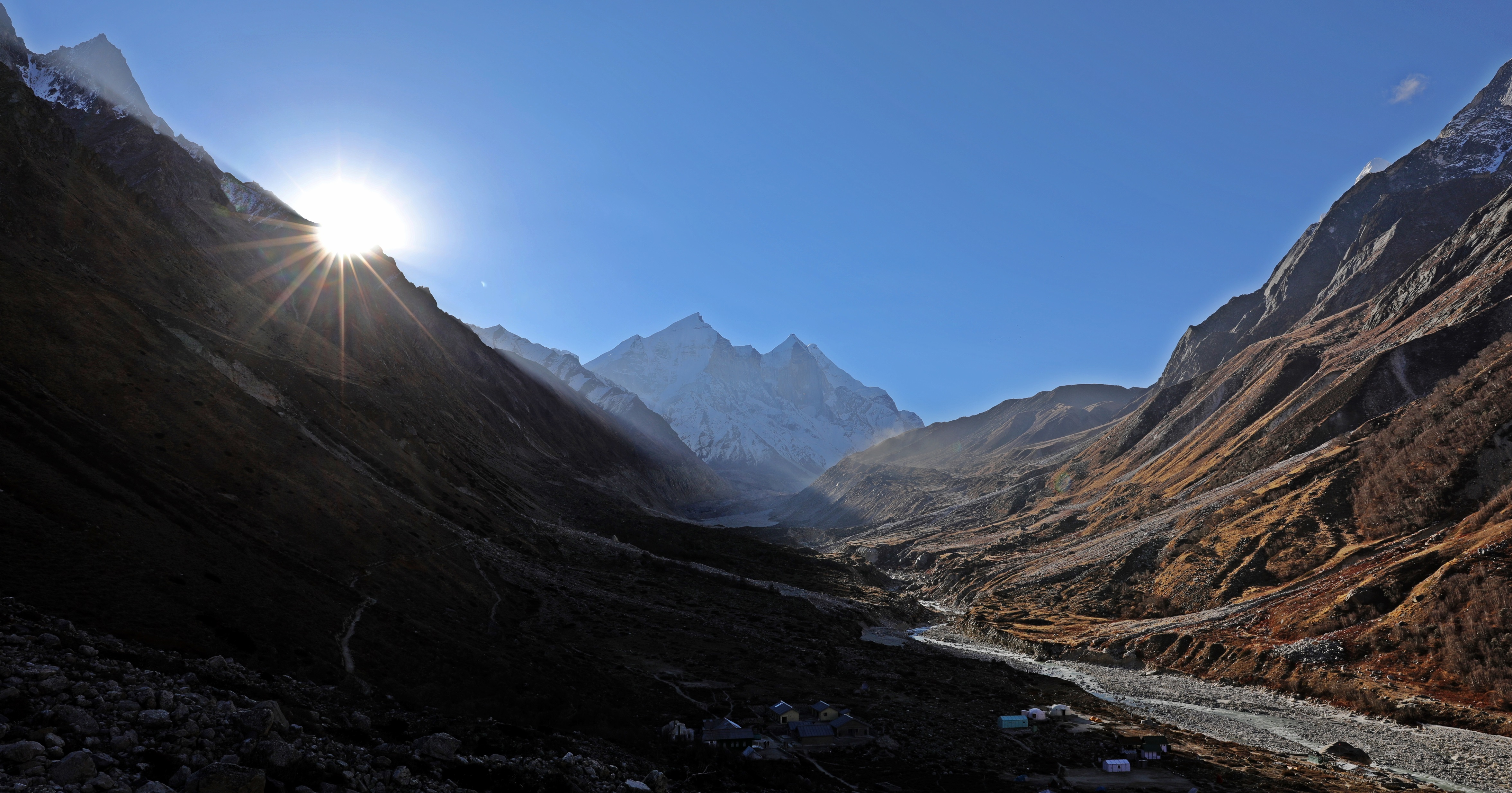 Sunrise beside Bhagirathi 1, 2, 3 at camp 2