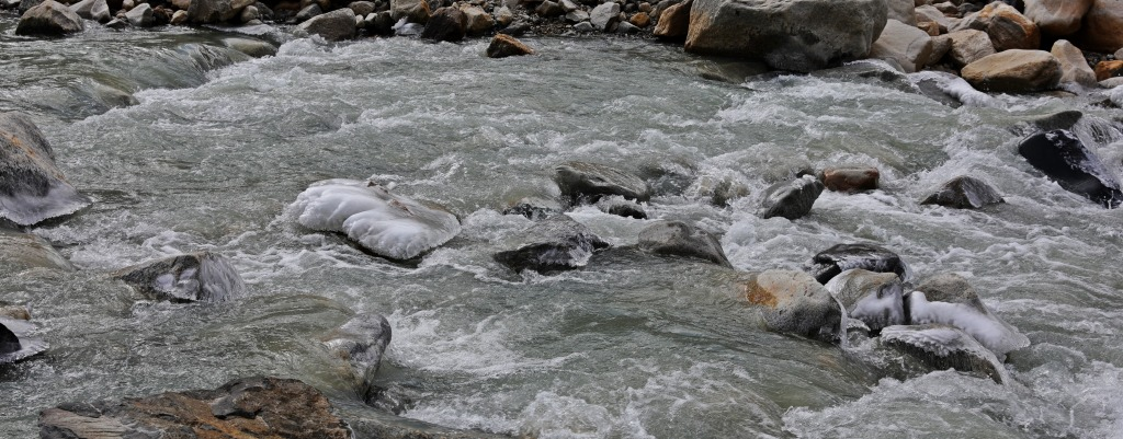 Ice on the Bhagirathi River