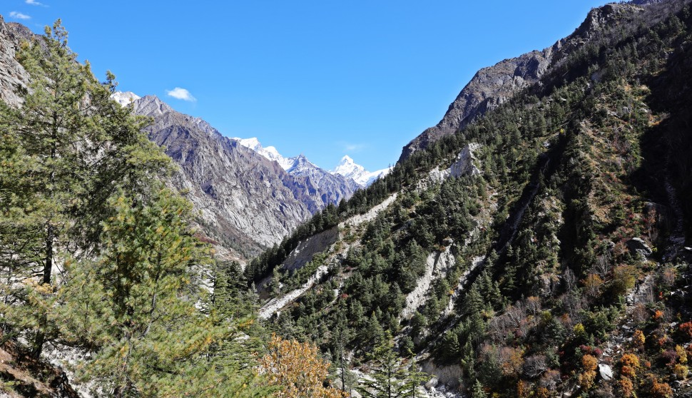Looking up the Bhagirathi River to the peak of Gangotri 1