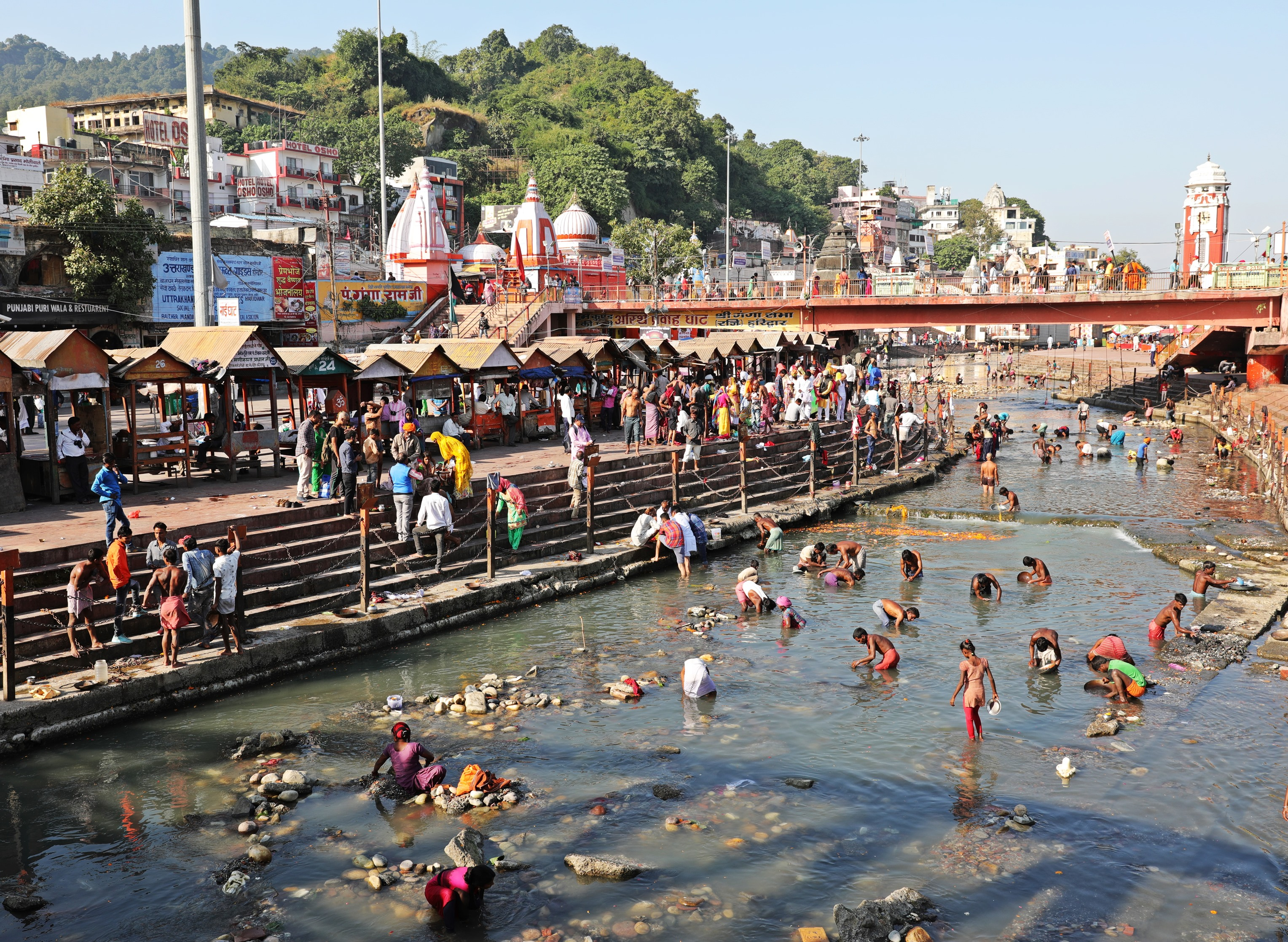 Panning for valuables in the Ganges in Haridwar