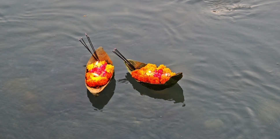 Diyas in the Ganges