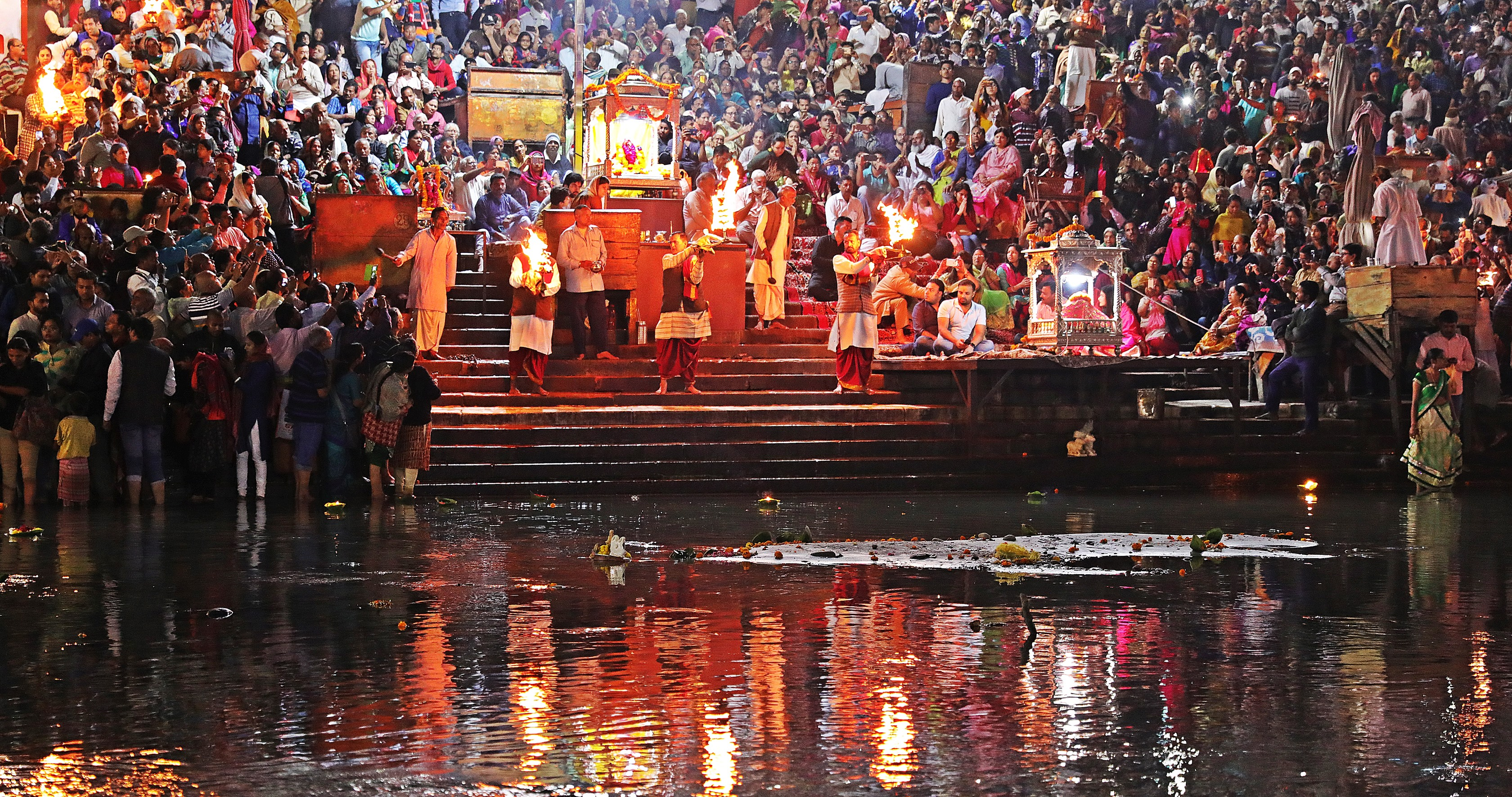 Pundits with fire lamps, Ganga Aarti,Haridwar