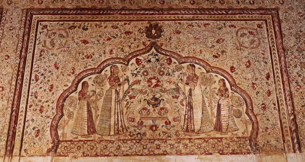 Fresco, Raj Mahal, Orchha