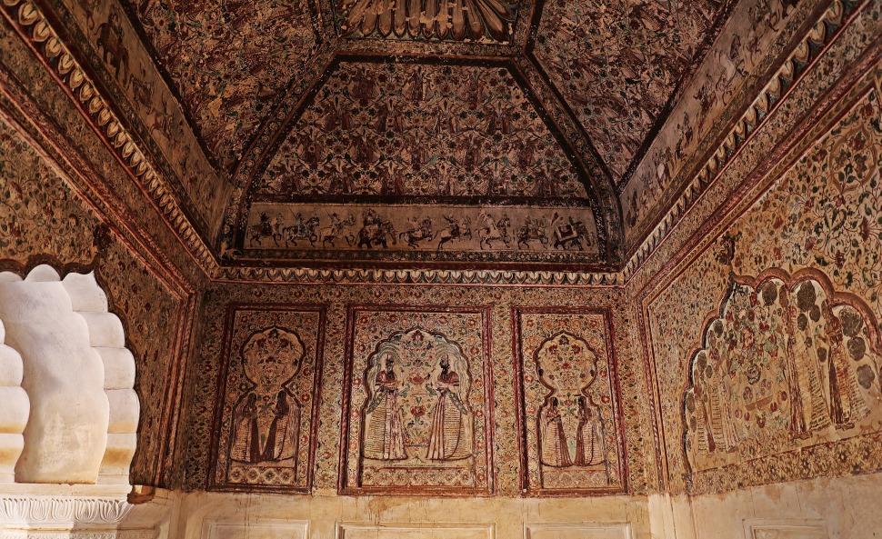 Frescoes, Raj Mahal, Orchha