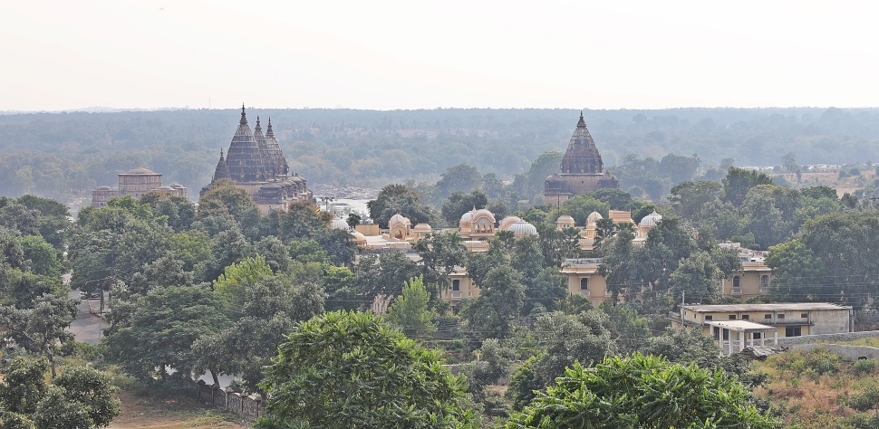 View of Orchha's cenotaphs