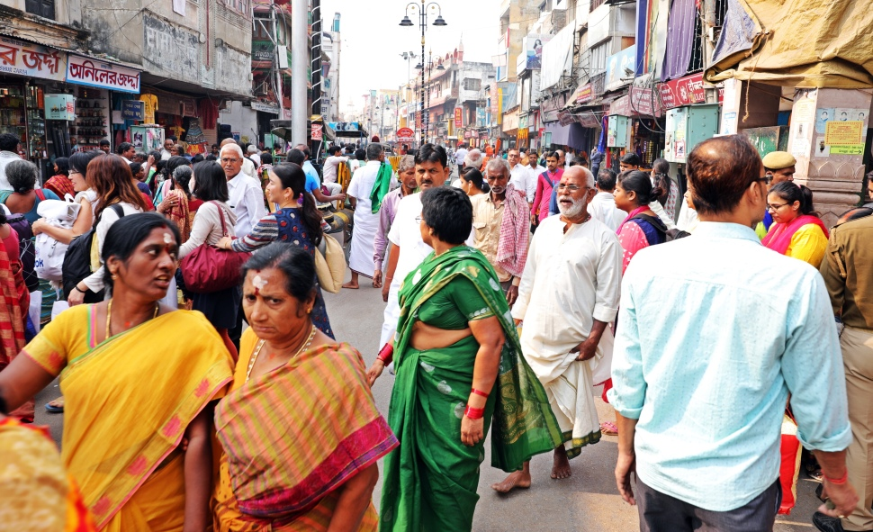 Crowded streets in Varanasi