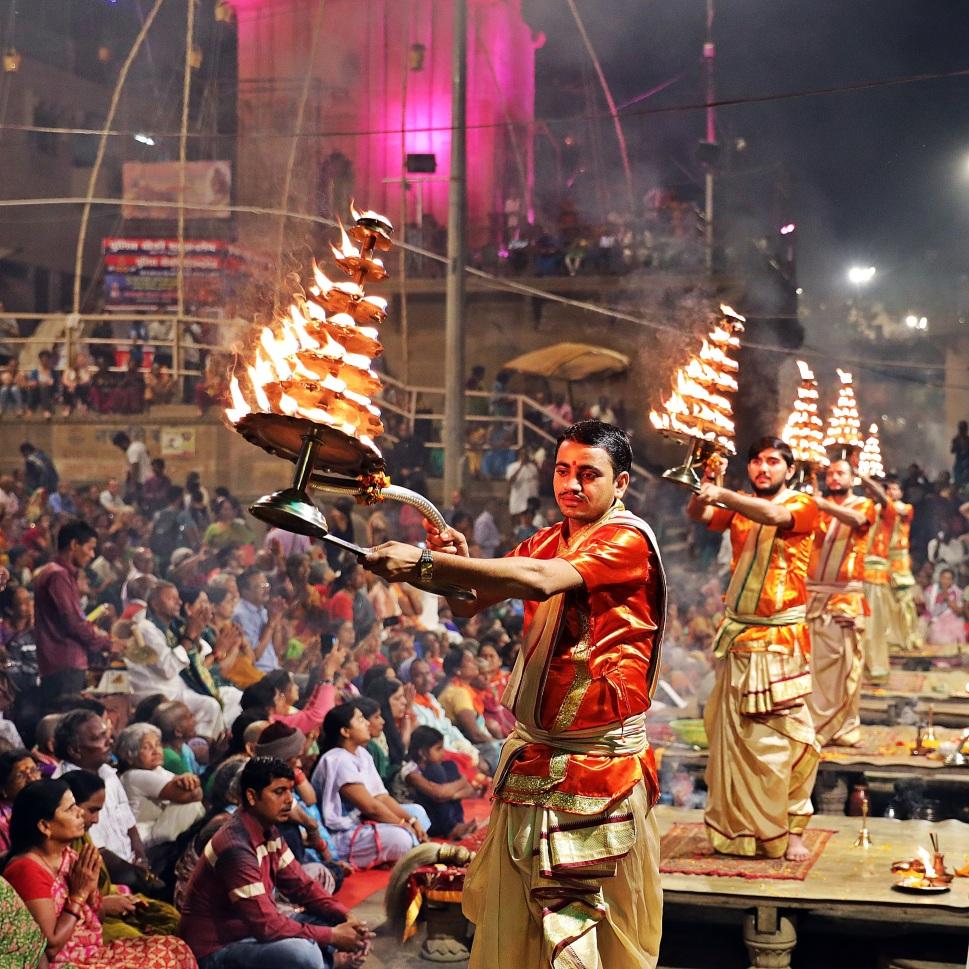 Pundits choreography with candelabras, Ganga Aarti, Varanasi