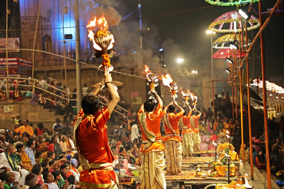 Pundits with fire lamps, Ganga Aarti, Varanasi