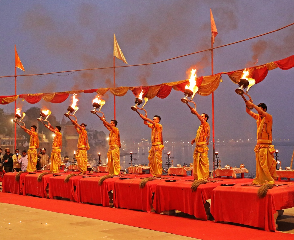 Pundits with fire lanterns, Ganga Aarti, Varanasi