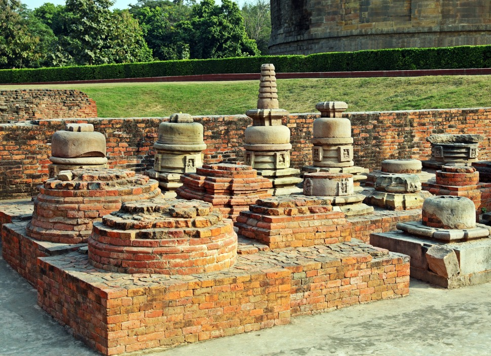 Different stupa designs in Sarnath
