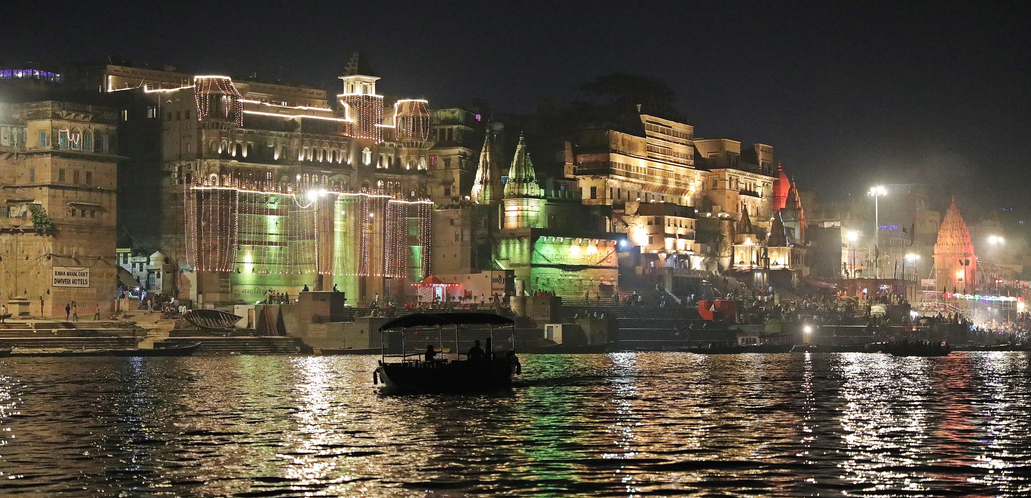 Varanasi at night with Dewali lights
