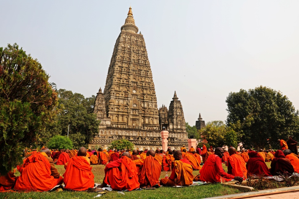 Monks meditating at Mayabodhi Temple, Bodhgaya