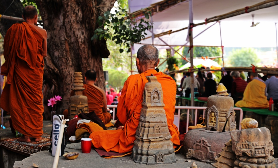 Monk meditating at Mayabodhi Temple, Bodhgaya