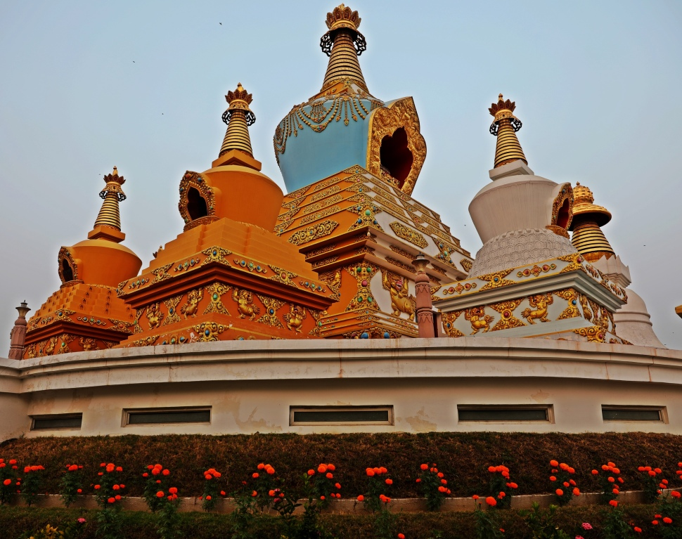 Stupas outside the Sri Lankan Monastery, Bodhgaya