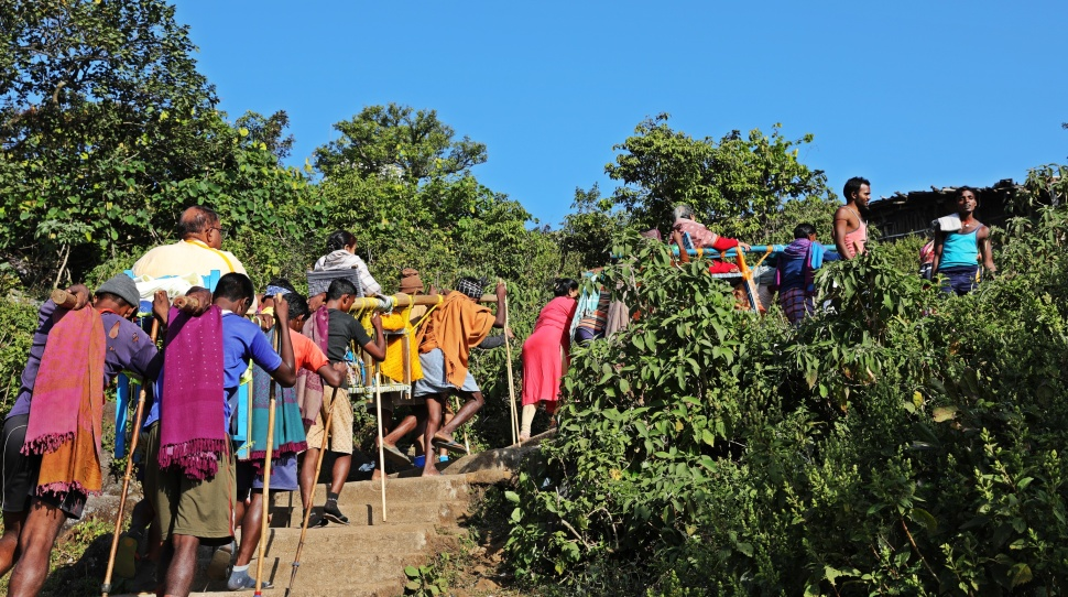 Pilgrims being carried on dolis, Parasnath Hills