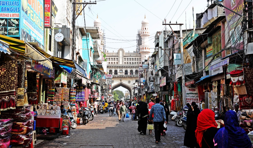 Charminar and market street, Hyderabad