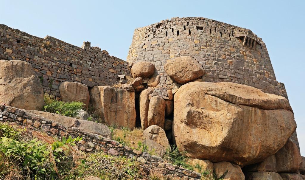 Golkonda Fort built on the granite boulders
