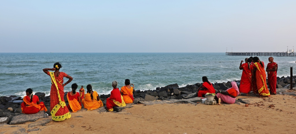 Enjoying the beach, Puducherry