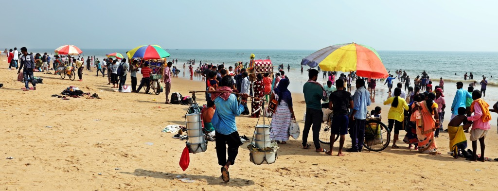 Selling snacks on Model Beach, Puri