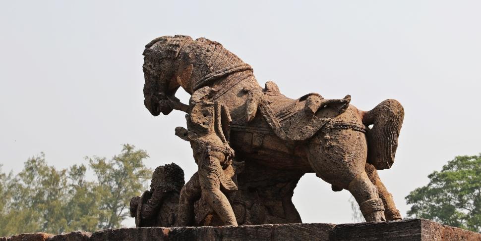 Headless horseman with horse, Sun Temple, Konark