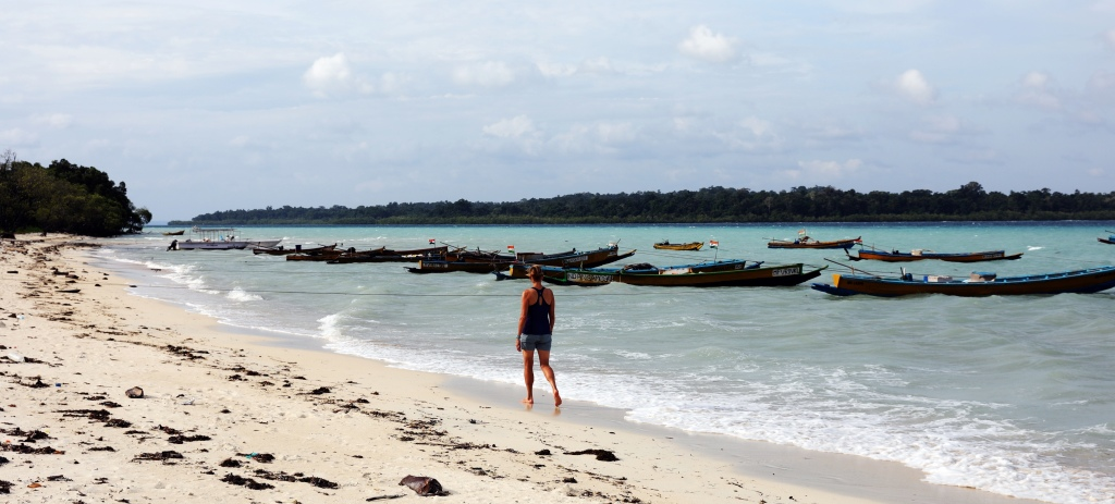 Walking along the beach, Havelock Island