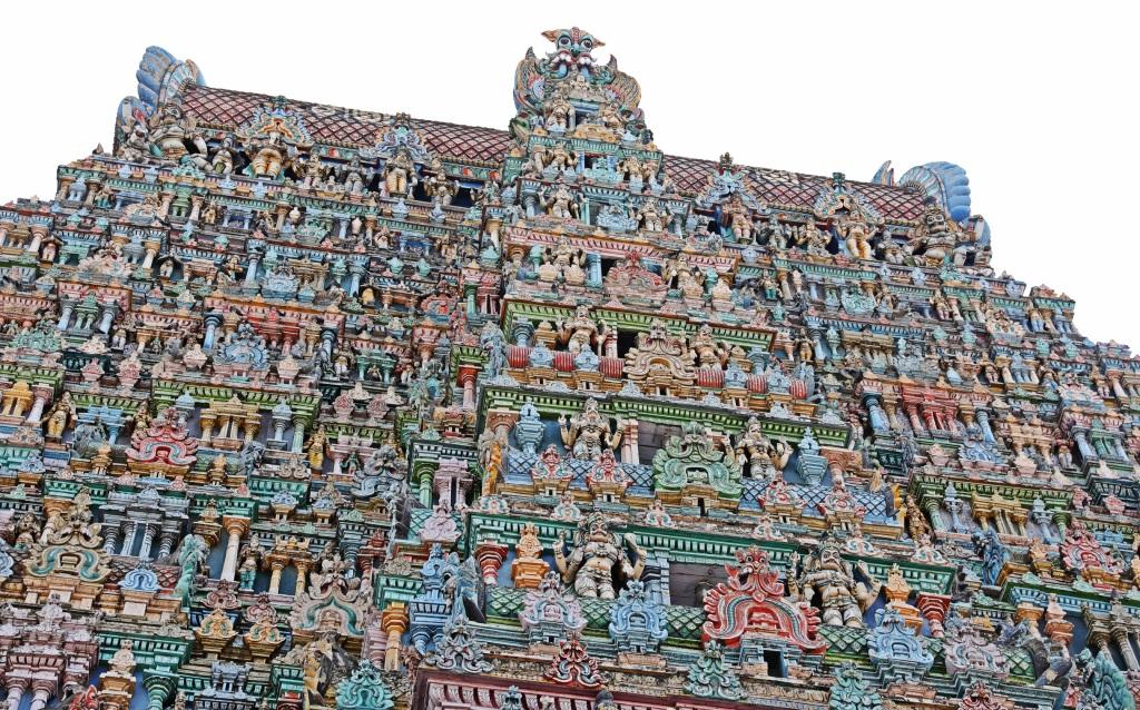 Pastel figures on Gopuram, Meenakash Amman Temple, Madurai