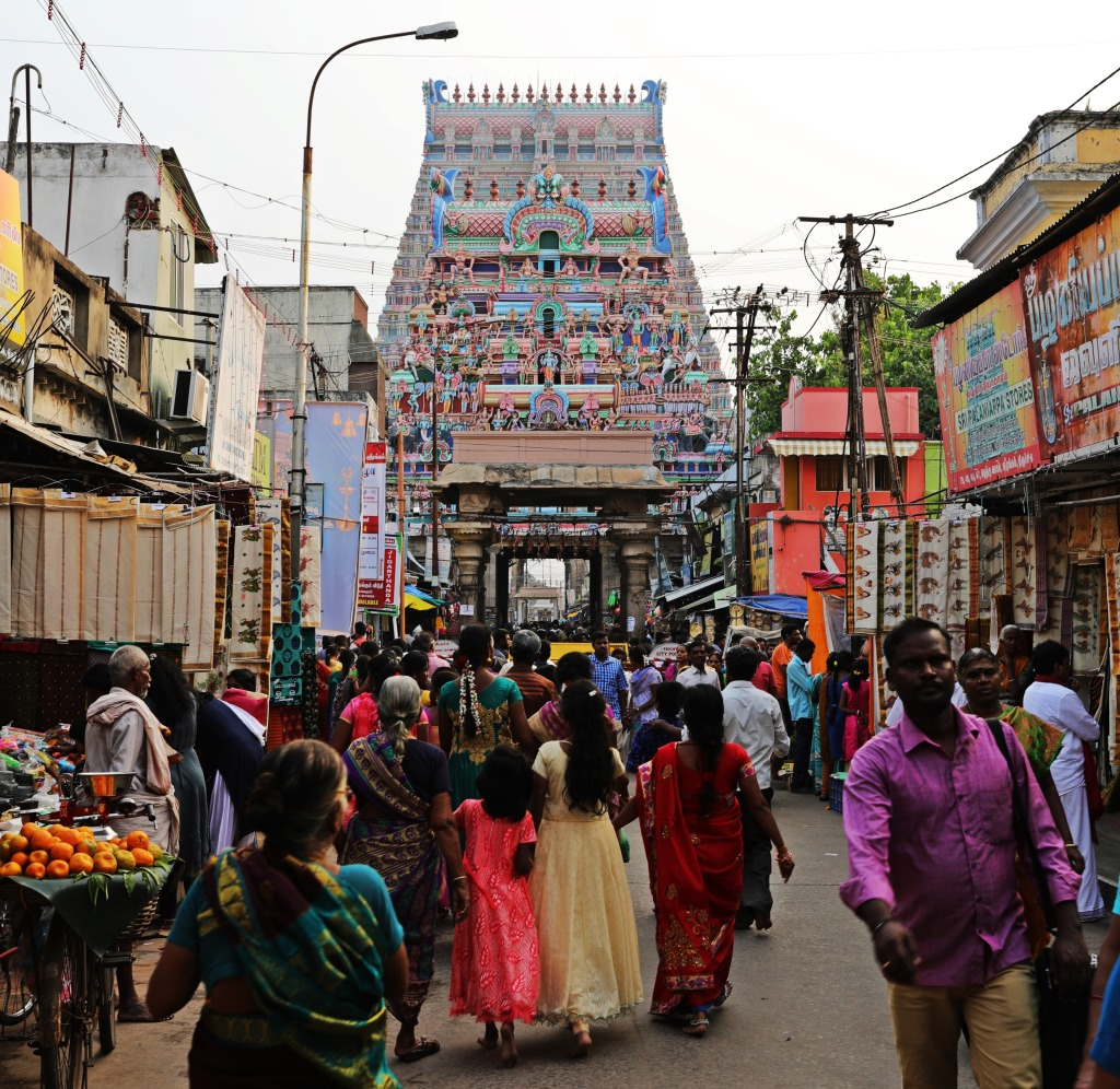 Gopuram on a busy market street, Sri Ranganathaswamy Temple, Trichy