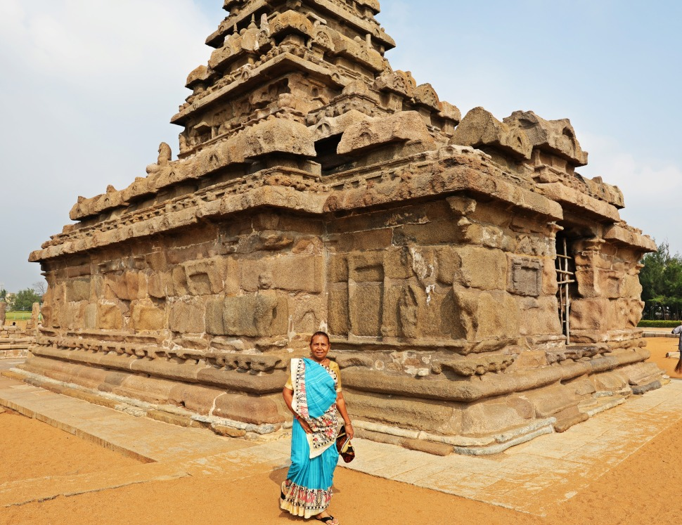 Indian tourist, Seashore Temple, Mamallapuram