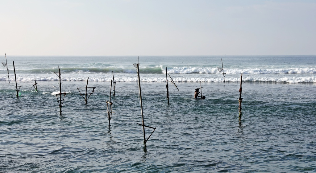 Cleaning the stilts with magic water, near Ahangama
