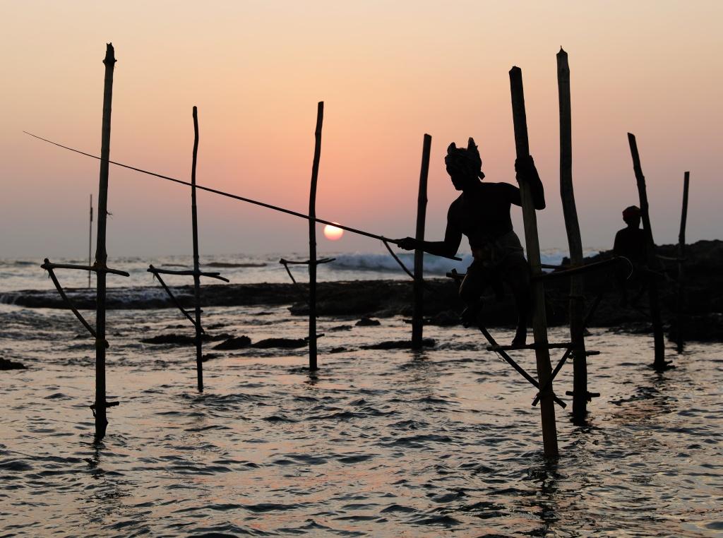 Fisherman on stilts at sunset near Ahangama