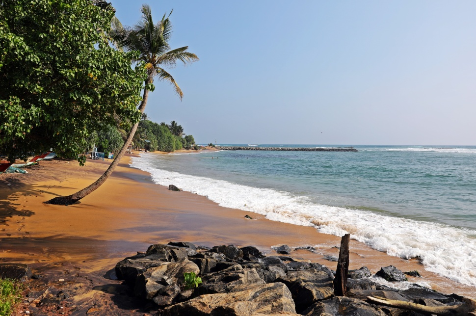 Idyllic beach in Mirissa, Sri Lanka