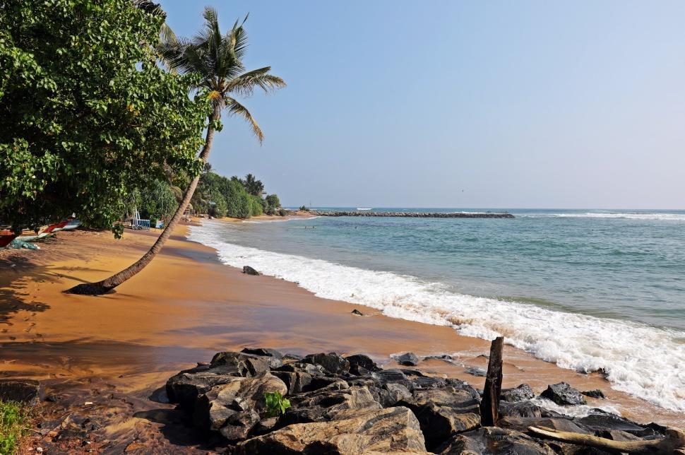 Idyllic beach in Mirissa, Sri Lanka