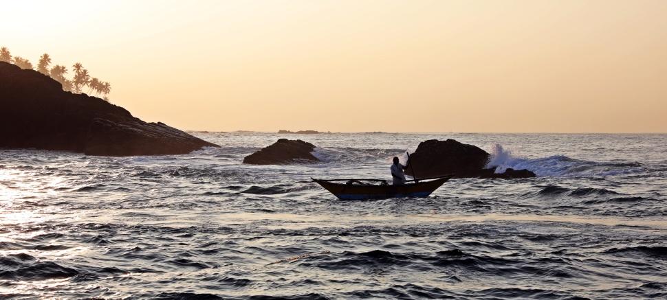 Fishing boat at sunrise, Mirissa, Sri Lanka