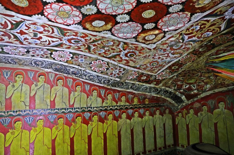Painted walls and ceiling inside cave, Mulkirigala Raja Maha Vihara Temple